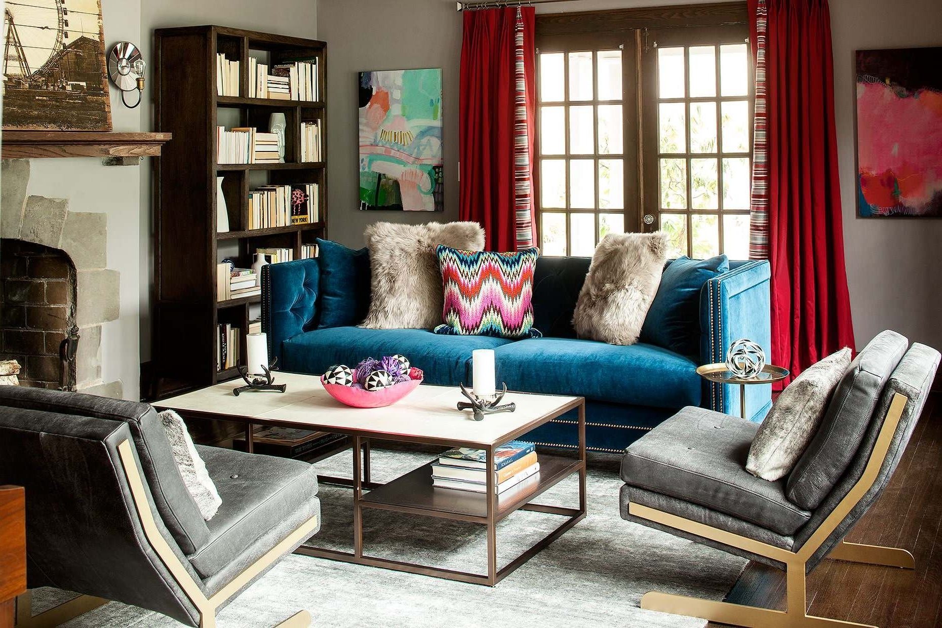Popular Blue Sofa Chairs Throughout Mid Century Velvet Blue Tuxedo Sofa Rectangle Iron Framed Coffee (View 15 of 15)