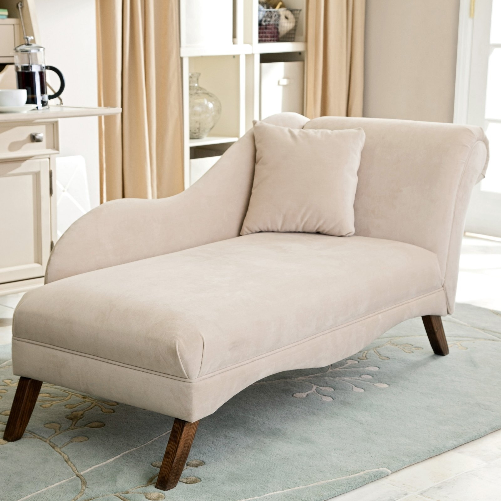 Popular Chaise Chairs For Bedroom In Grandiose Beige Fabric Upholstery Chaise Lounge With Wooden Base (View 12 of 15)