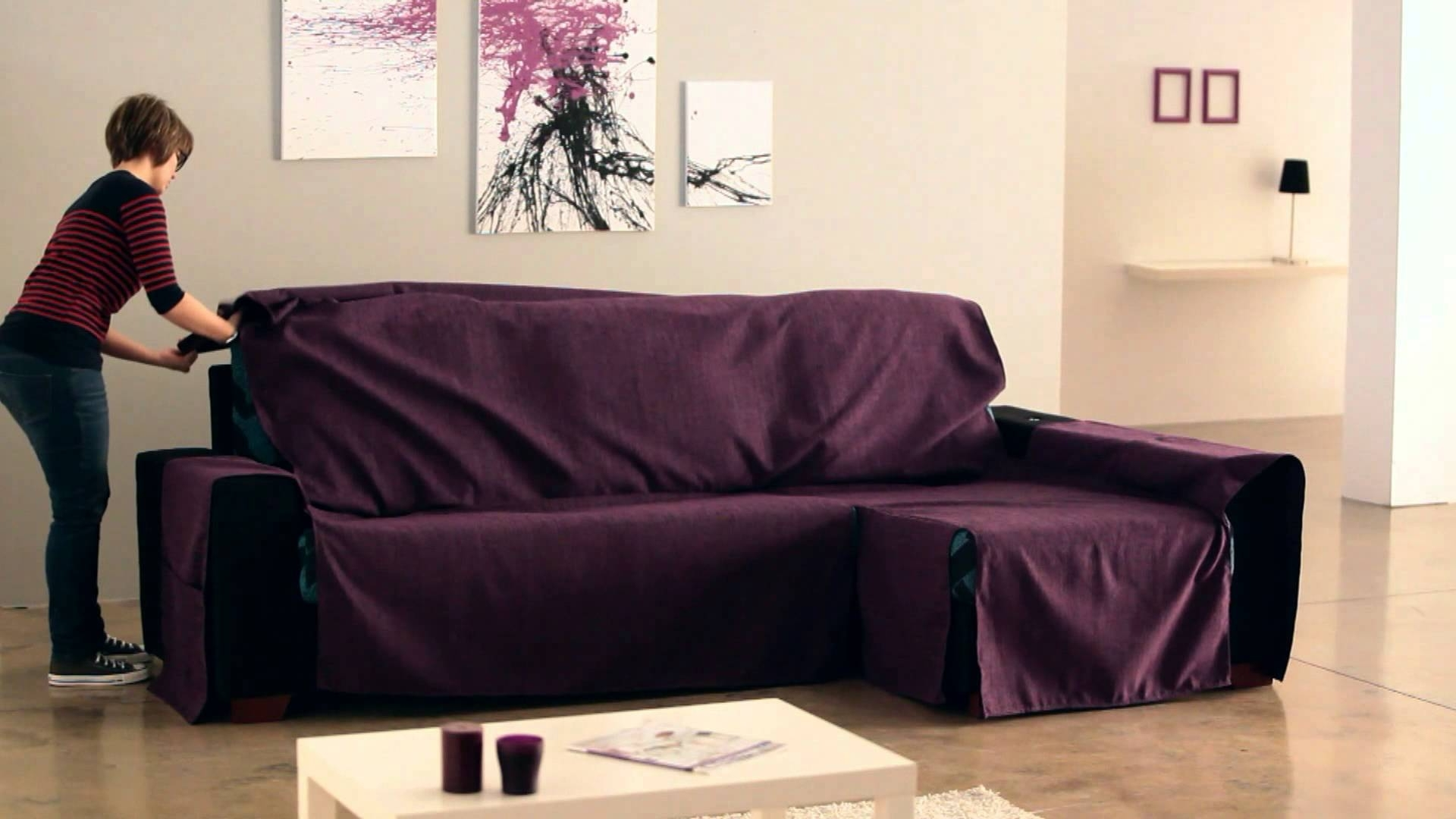 Popular Chaise Couch Covers Within How To Put An Universal Chaise Sofa Covers – Youtube (View 3 of 15)