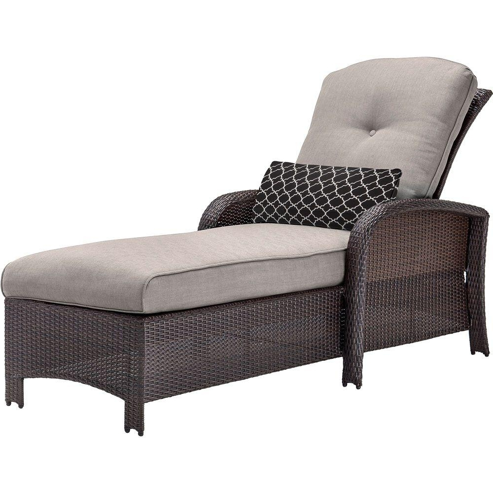 Popular Chaise Lounges Regarding Hanover Strathmere All Weather Wicker Patio Chaise Lounge With (View 14 of 15)
