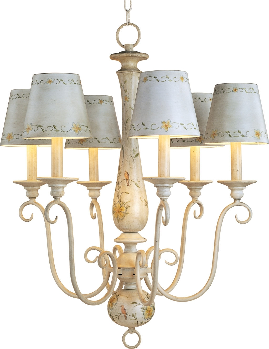 Popular Chandeliers With Lamp Shades Regarding Antique French Country Mini Chandelier With Ceramic Lamp Shades And (View 8 of 15)