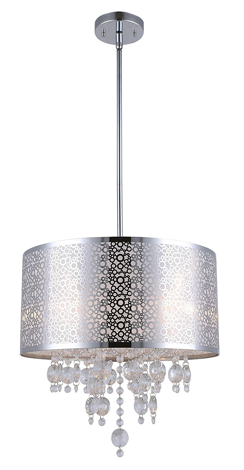 Popular Chrome Chandeliers In Canarm Ich543A04Ch16 Piera 4 Light Chandelier With Crystal, Chrome (View 14 of 15)