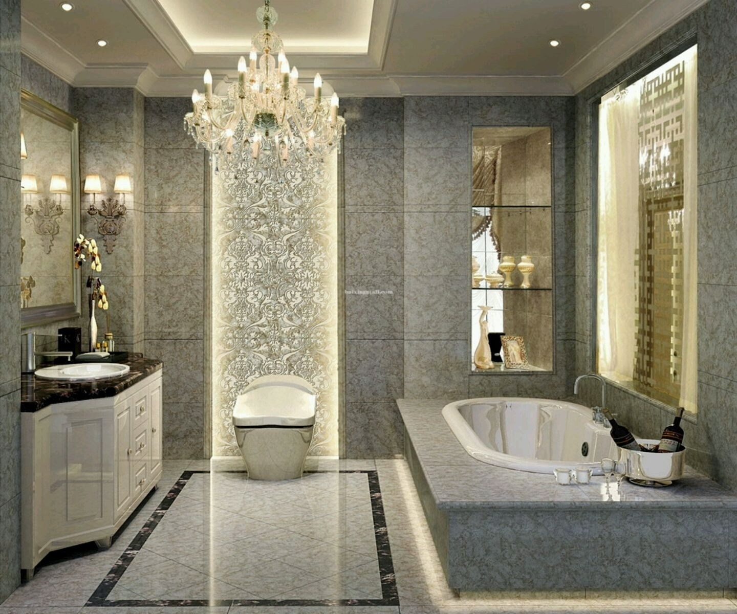 Popular Decoration Ideas Gorgeous Luxury Home Interior With  Chandeliers Inside Chandelier In The Bathroom (View 13 of 15)