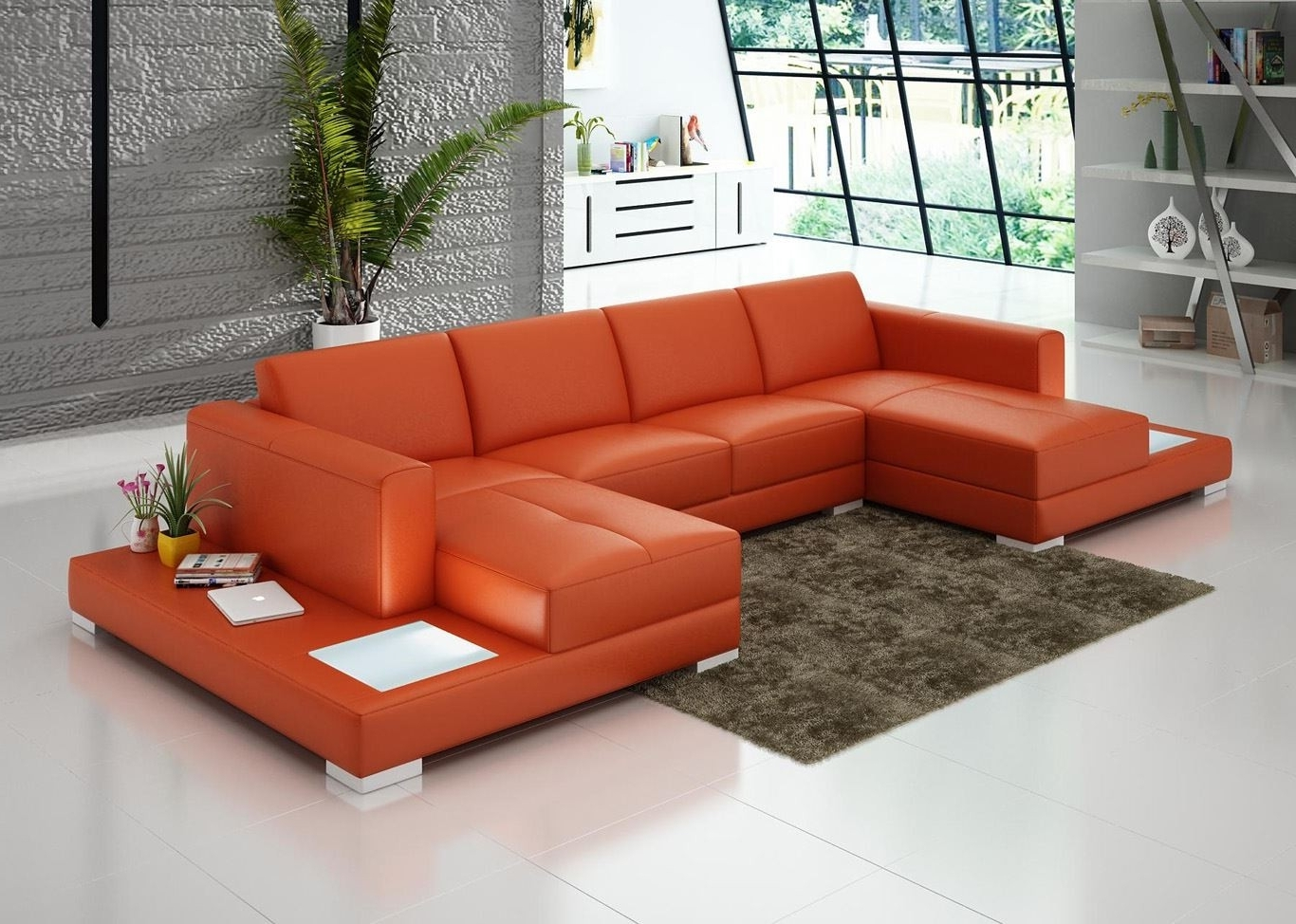 Popular Double Chaise Lounge Sofas Pertaining To U Shaped Orange Leather Sofa With Double Chaise Lounge And End (View 13 of 15)