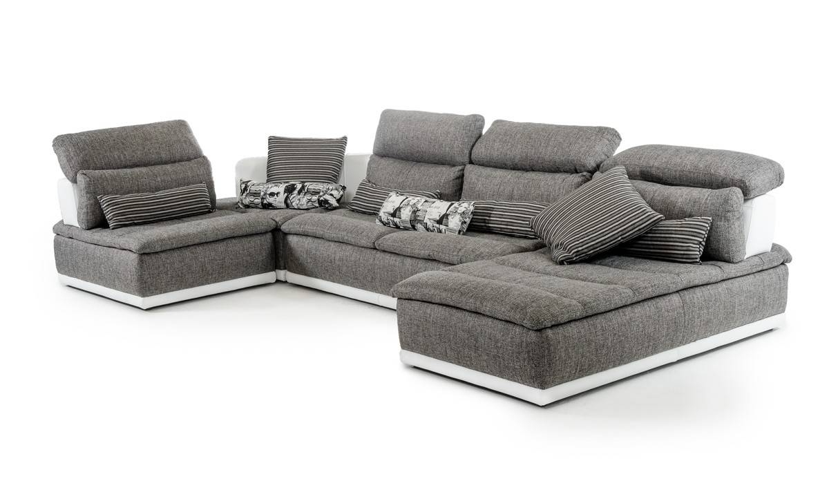 Popular El Paso Texas Sectional Sofas Intended For Made In Italy Grey Fabric And White Leather Sectional Sofa El Paso (View 14 of 15)