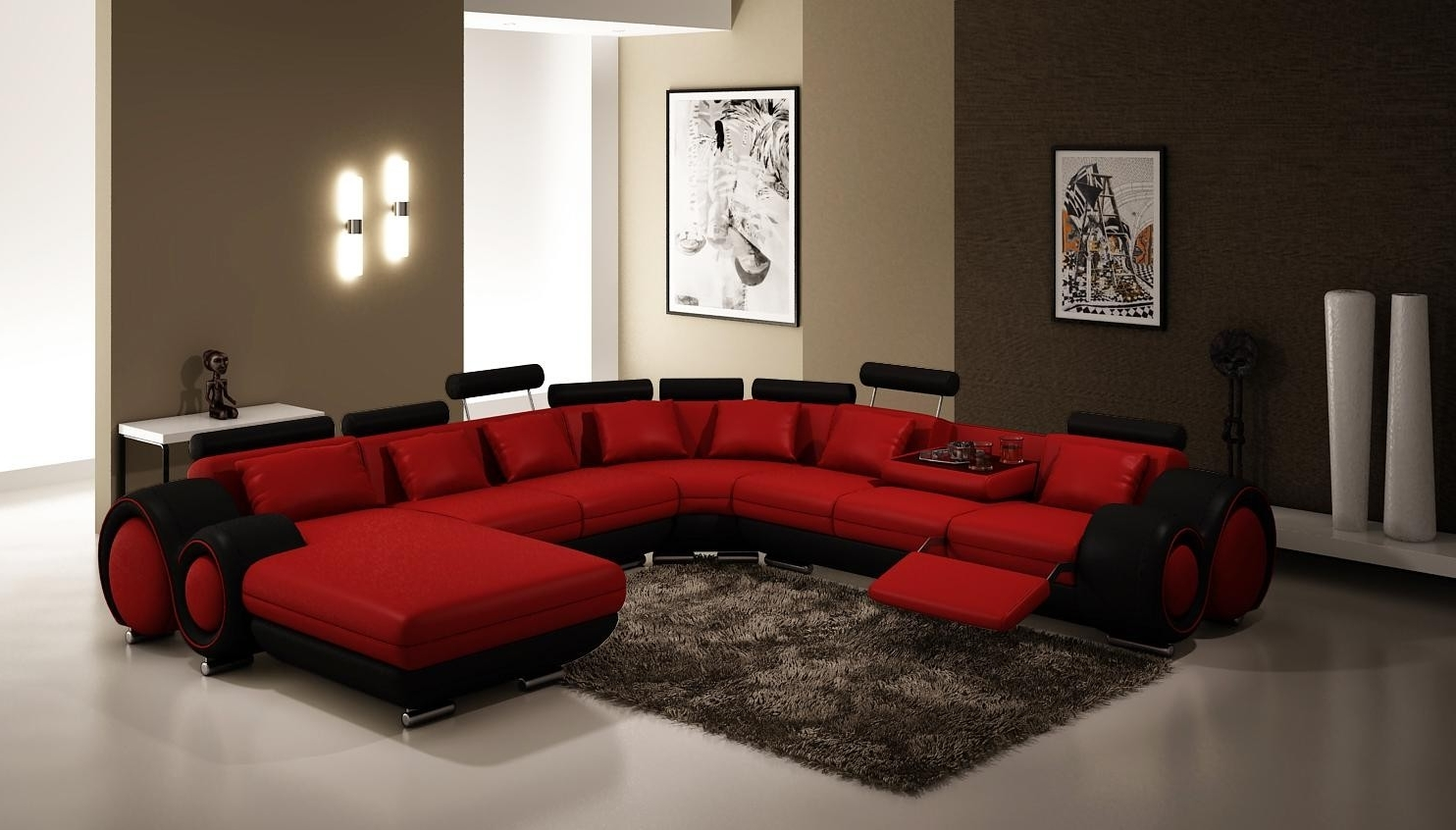 Popular Furniture 4084 Contemporary Red And Black Sectional Sofa Throughout Red Black Sectional Sofas (View 6 of 15)