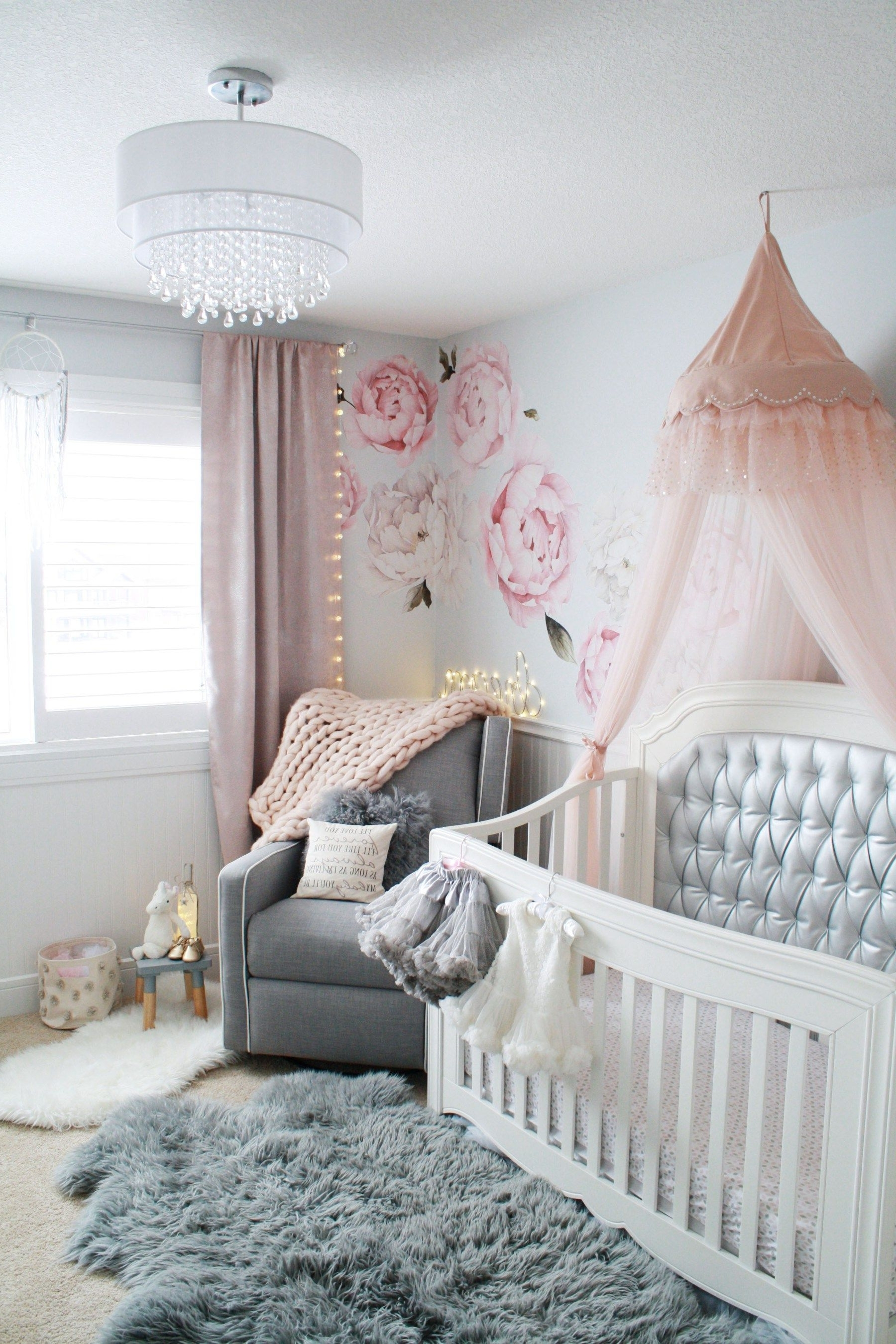 Popular Glamorous Pink And Gray Nursery • Baby Girl Nursery In Gray, White With Regard To Chandeliers For Girl Nursery (View 13 of 15)