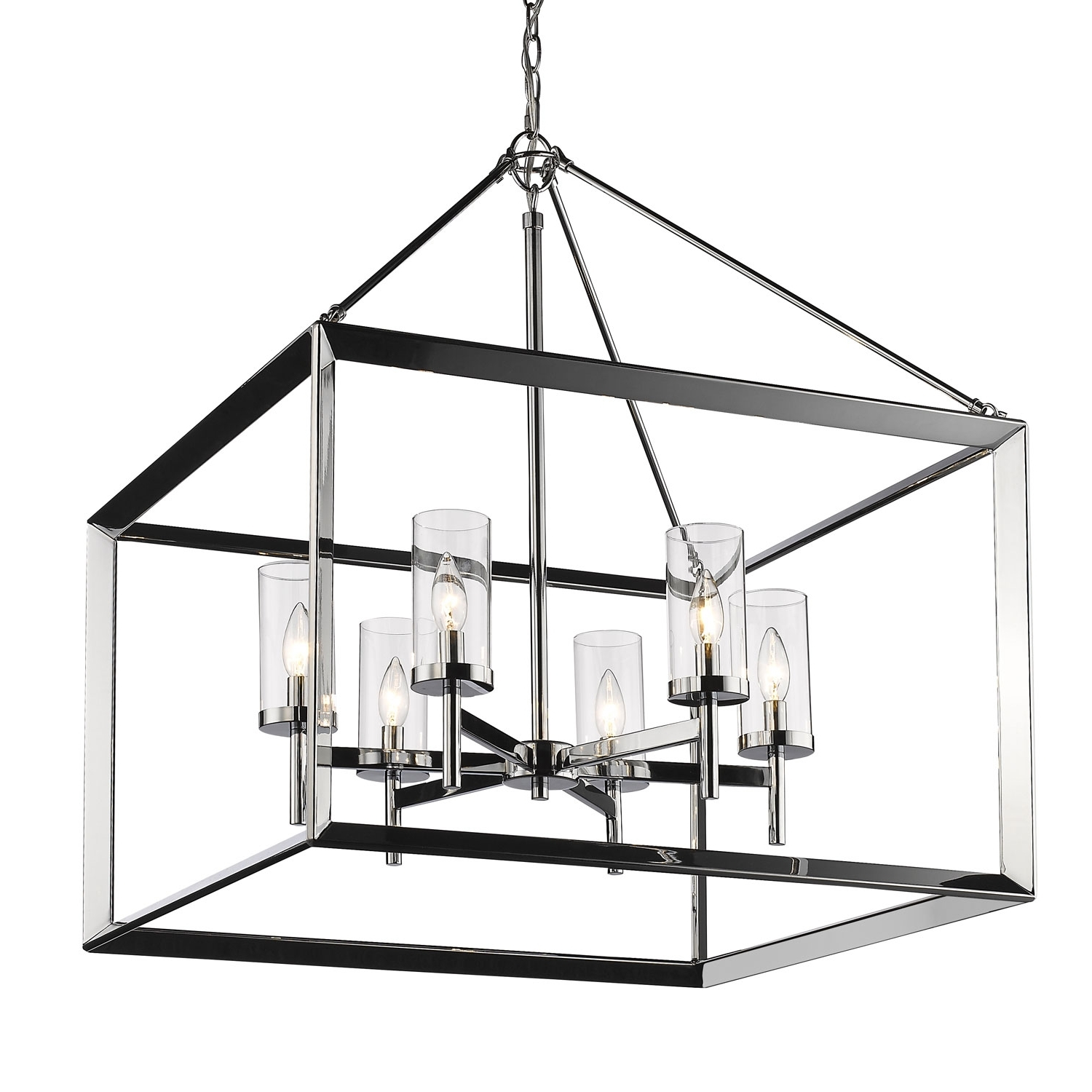 Popular Golden Lighting Smyth Chrome Six Light Chandelier With Clear Glass Within Chandelier Chrome (View 14 of 15)
