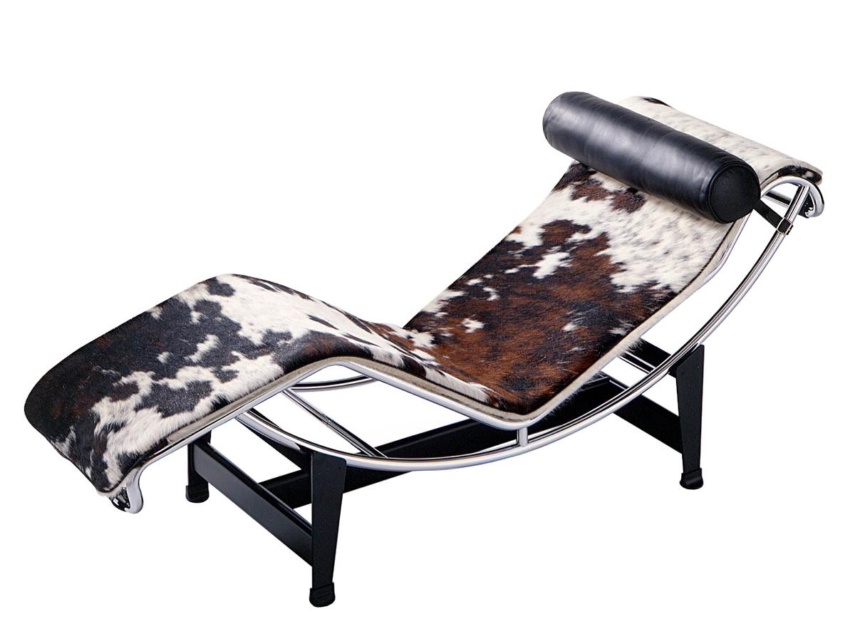 Popular Le Corbusier Chaises Intended For Cassina Lc4 Chaise Longue, Chrome Plated, Spotted Hide Black White (View 4 of 15)
