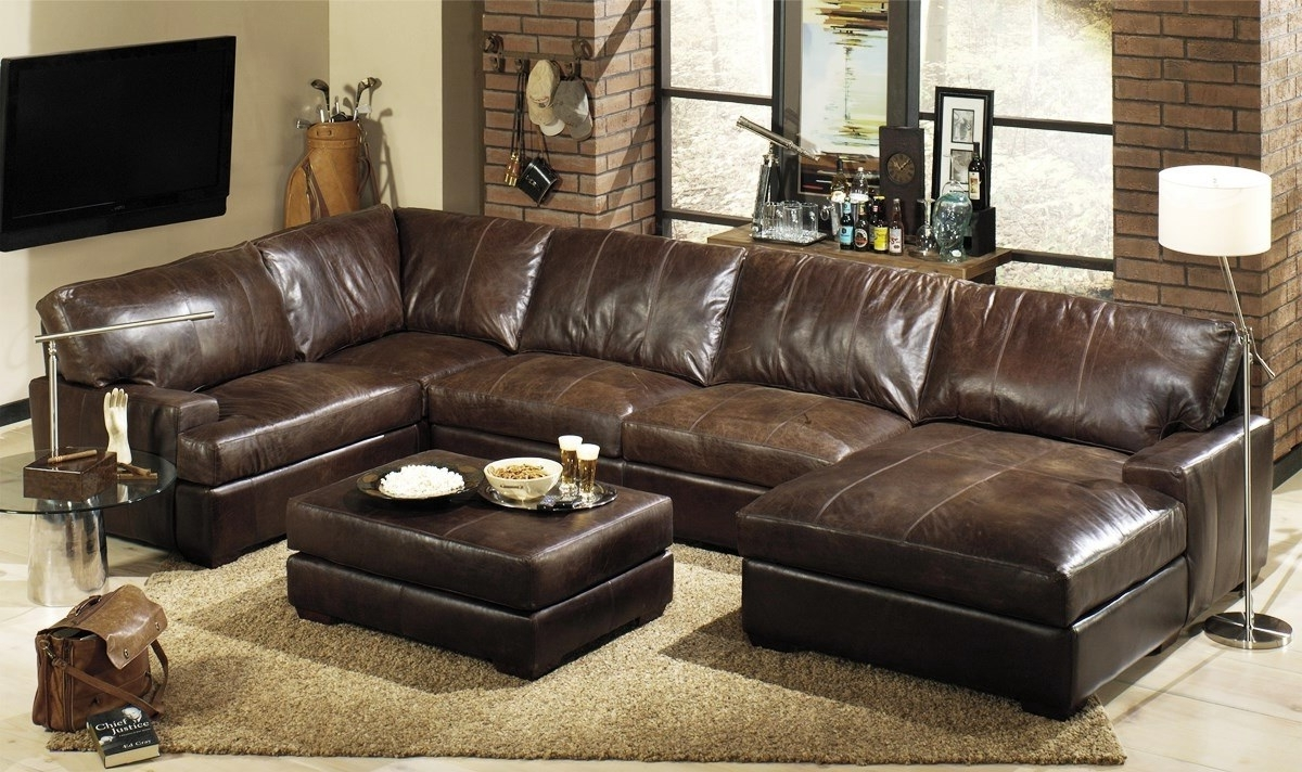 Popular Leather Sofas With Chaise Regarding Brown Sectional Sofas Lovely L Shaped Brown Leather Sleeper Sofa (View 3 of 15)