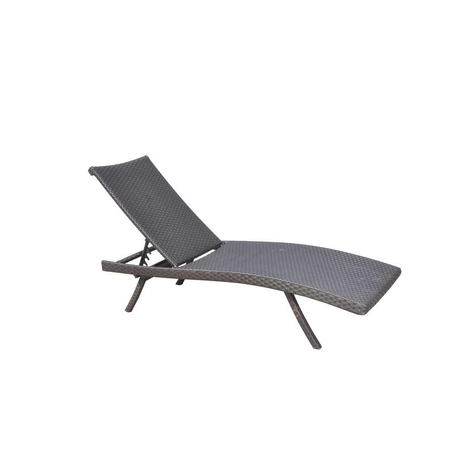 Popular Lowes Chaise Lounges Throughout Shop Allen + Roth Aluminum Stackable Folding Patio Chaise Lounge (View 7 of 15)