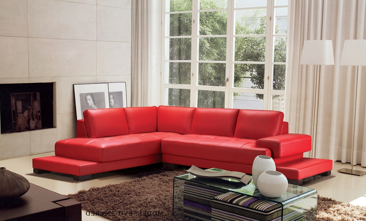 Popular Modern Red Leather Sectional Sofa For Red Leather Sectional Couches (View 8 of 15)