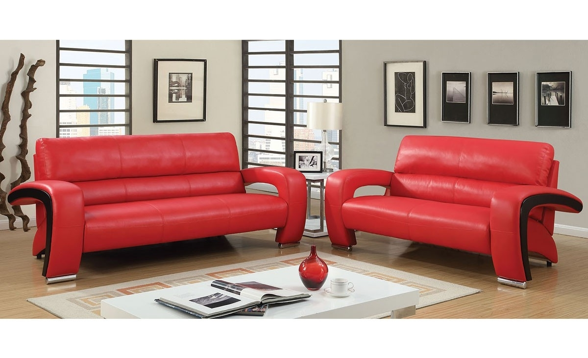 Popular Modern Red Leather Sofa Within Red Leather Sofas (View 7 of 15)