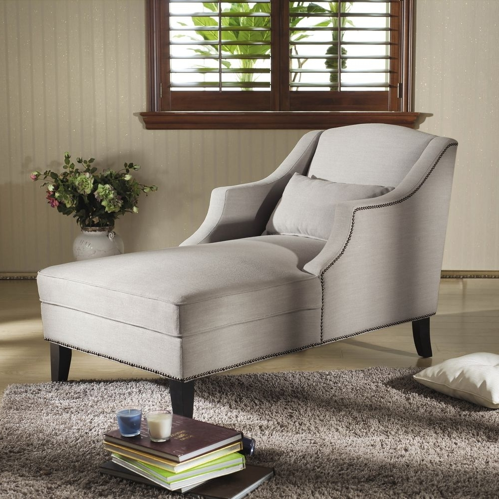Popular Overstock Chaise Lounges Pertaining To Baxton Studio 'asteria' Putty Gray Linen Modern Chaise Lounge (View 10 of 15)