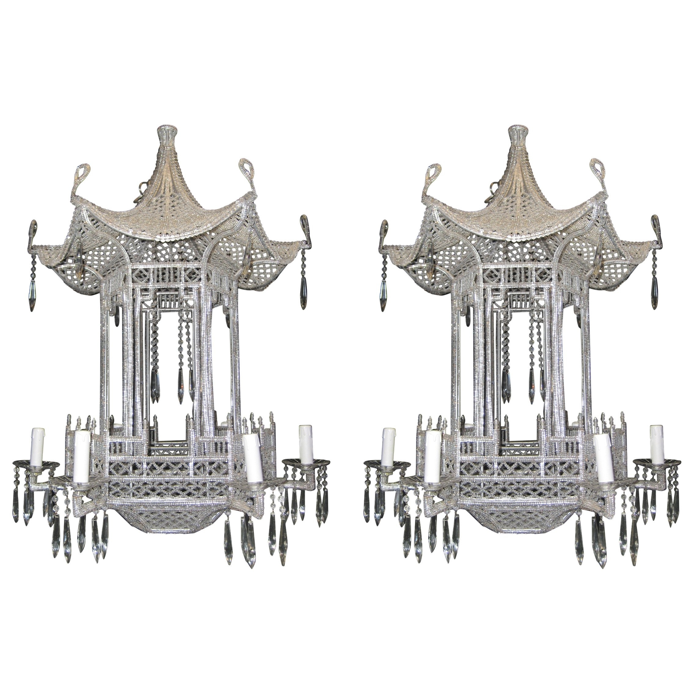 Popular Pair Of Italian Chinoiserie Pagoda Form Beaded Glass And Crystal For Chinoiserie Chandeliers (View 3 of 15)