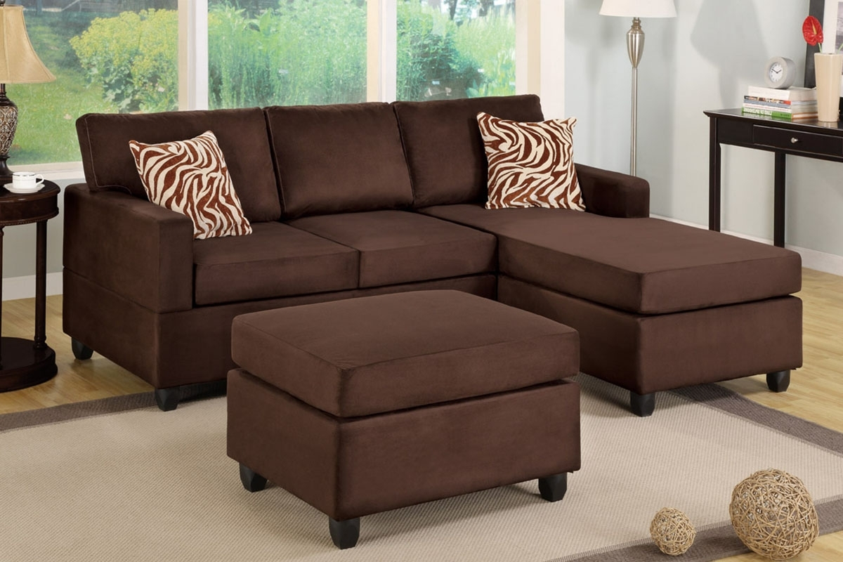 Popular Poundex F7661 Chocolate Microfiber Sectional Sofa With Ottoman In Chocolate Sectional Sofas (View 9 of 15)