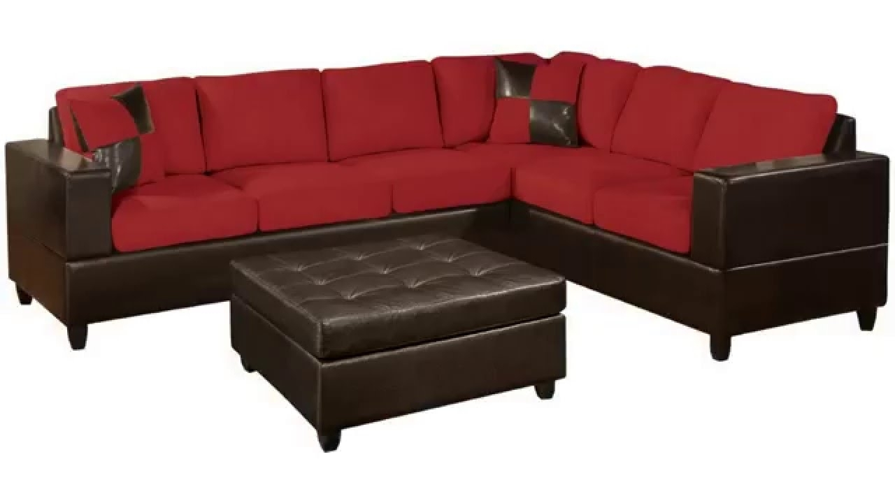 Popular Red Black Sectional Sofas With Regard To Sofas: Red Sectional Sofa (View 7 of 15)