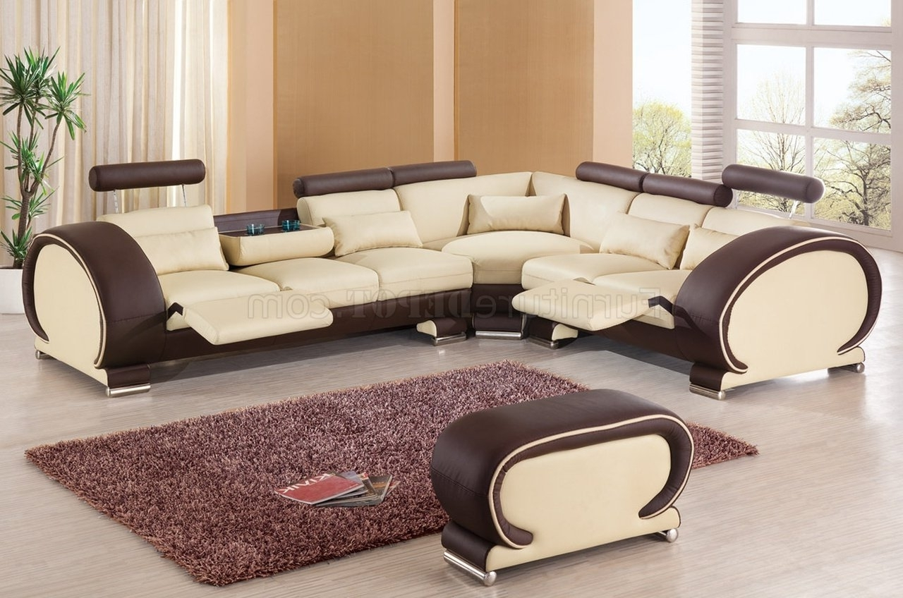 Popular Sectional Sofaesf In Beige & Brown Leather Intended For New Orleans Sectional Sofas (View 10 of 15)