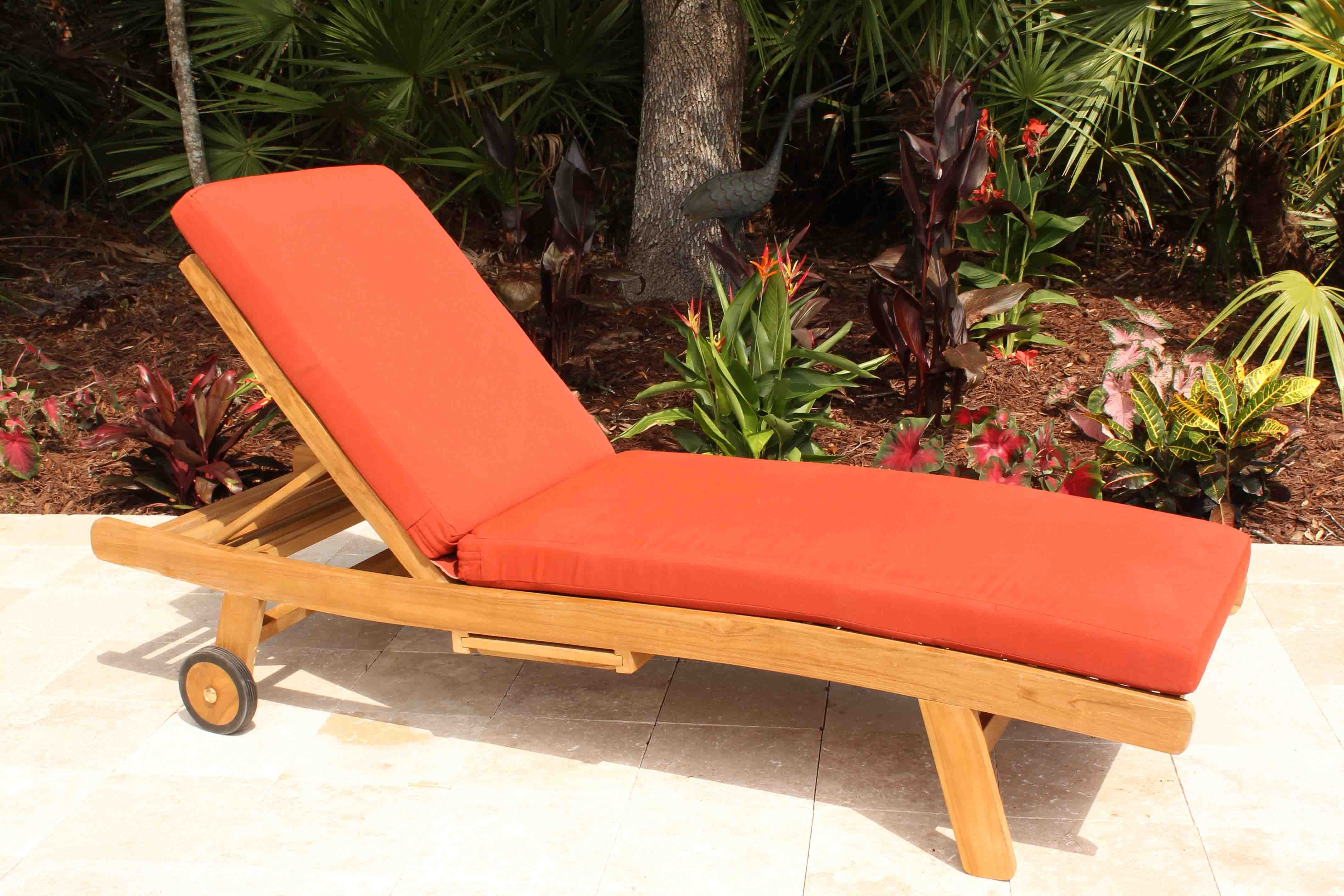 Popular Teak Chaise Lounge Cushions In Sale Sunbrella Fabric Chaise Lounge Cushion (View 8 of 15)