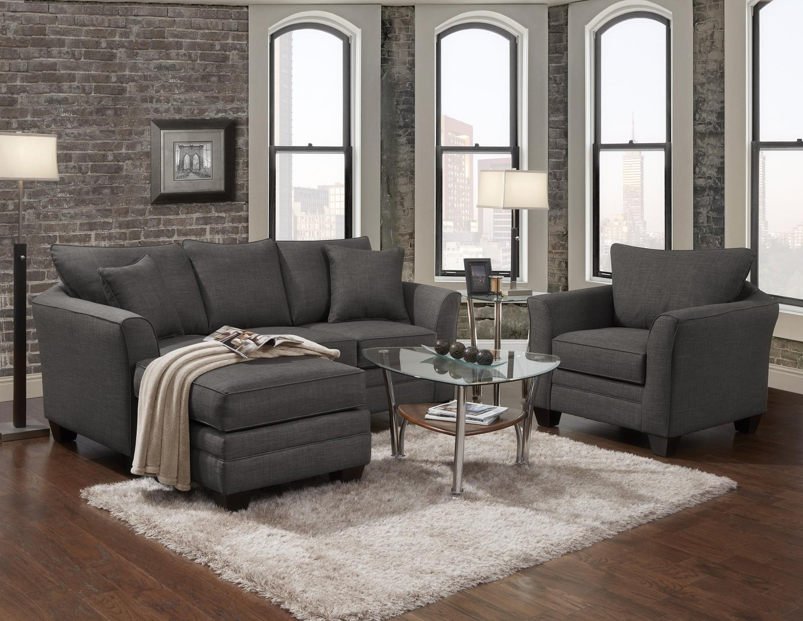 Popular Transitional Sofa With Chaise Endj Henry (View 5 of 15)