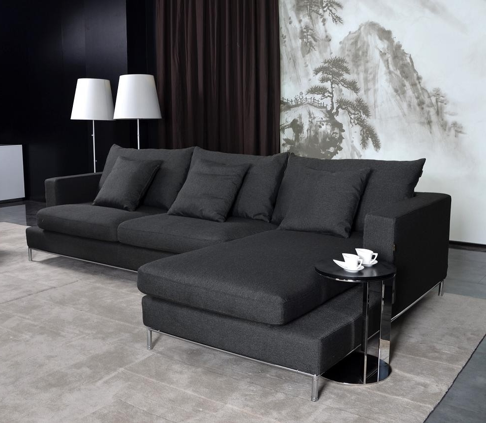 Popular Trend Black Sectional Sofa 85 In Sofas And Couches Set With Black With Regard To Contemporary Fabric Sofas (View 10 of 15)