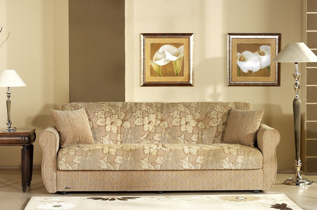 Popular Two Tone Sofas Intended For Two Tone Fabric Living Room W/storage Sleeper Sofa (View 7 of 15)
