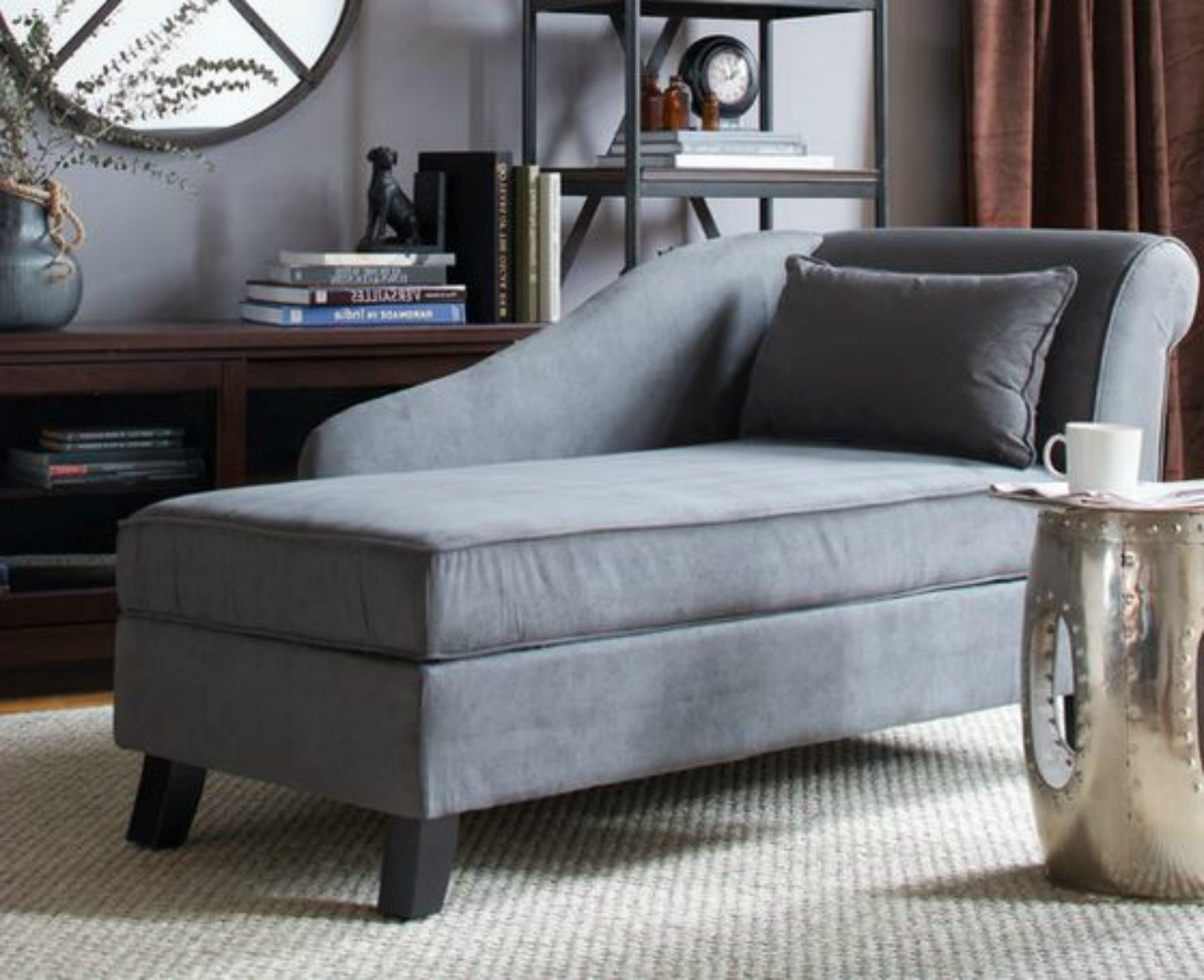Popular Upholstered Chaises Regarding Amazon: Storage Chaise Lounge Chair  This Microfiber (View 4 of 15)
