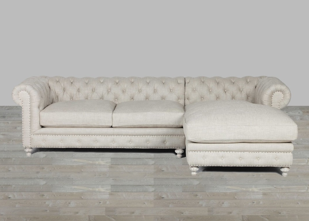 Popular Upholstered Sofa With Chaise Lounge Sand Belgian Linen Pertaining To Linen Chaise Lounges (View 11 of 15)