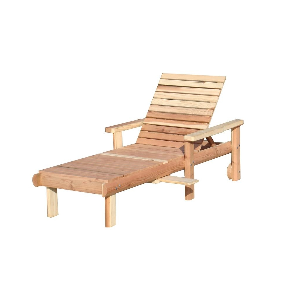 Popular Wood Outdoor Chaise Lounges Pertaining To Wood – Outdoor Chaise Lounges – Patio Chairs – The Home Depot (View 8 of 15)