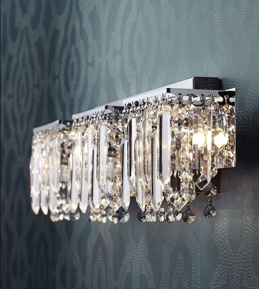 "Possini Euro Design Crystal Strand 25 3/4"" Wide Bath Light – Vanity In Recent Crystal Chandelier Bathroom Lighting (View 15 of 15)"