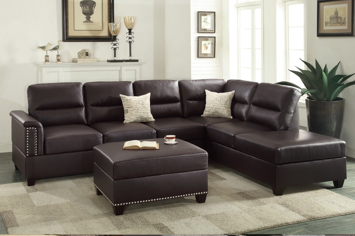 Poundex Bobkona Toffy Reversible Sectional With Ottoman & Reviews With Regard To Newest Leather Sectionals With Ottoman (View 11 of 15)