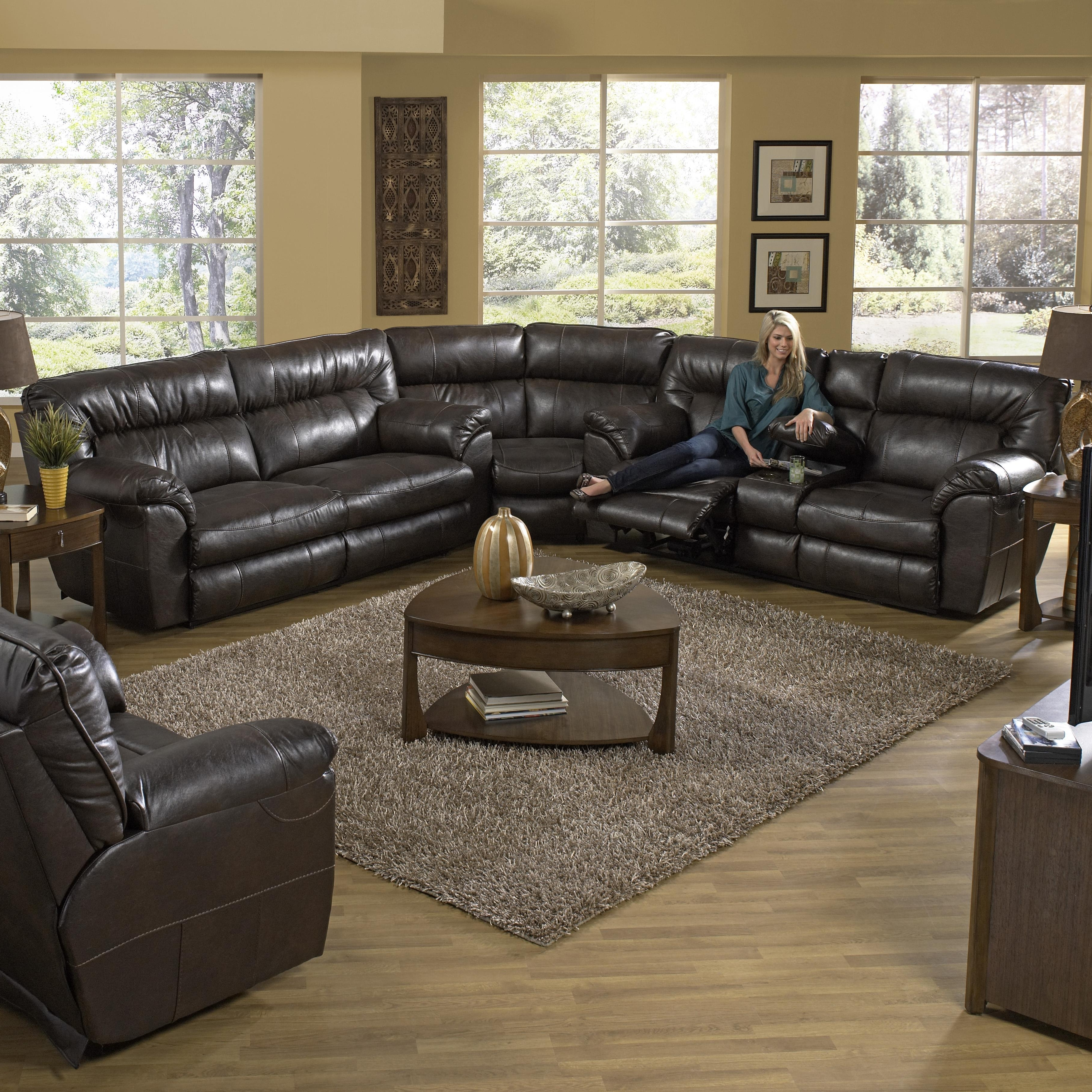 Power Reclining Sectional Sofa With Left Consolecatnapper With Most Recently Released Sectional Sofas With Consoles (View 11 of 15)