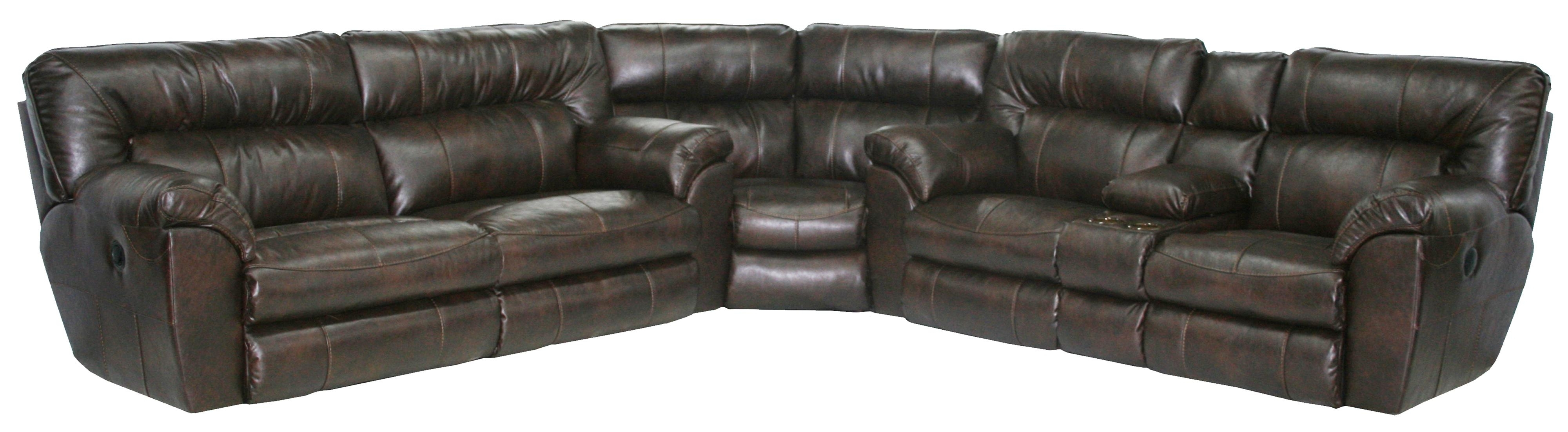 Power Reclining Sectional Sofa With Left Consolecatnapper With Regard To Latest Sectional Sofas With Consoles (View 7 of 15)