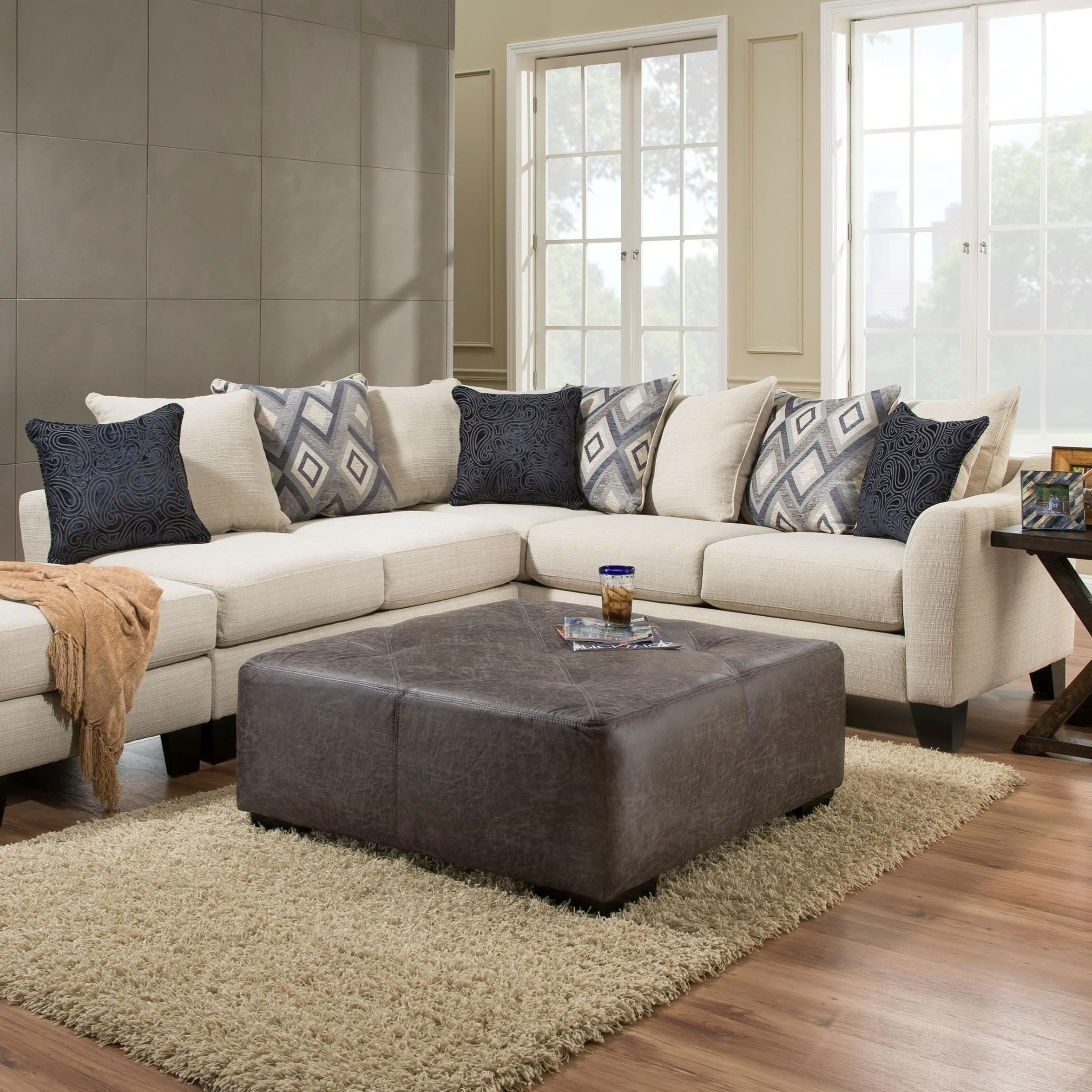 Preferred Albany R759 2 Piece Sectional Sofa In Dynasty Cream Fabric Regarding Hattiesburg Ms Sectional Sofas (View 11 of 15)