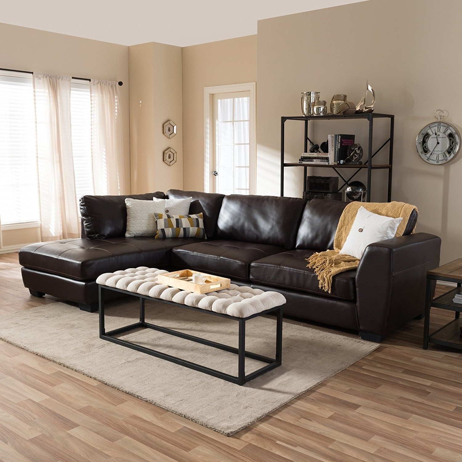 Preferred Amazon: Baxton Studio Orland Bonded Leather Modern Sectional Throughout Leather Sectional Sofas With Chaise (View 14 of 15)