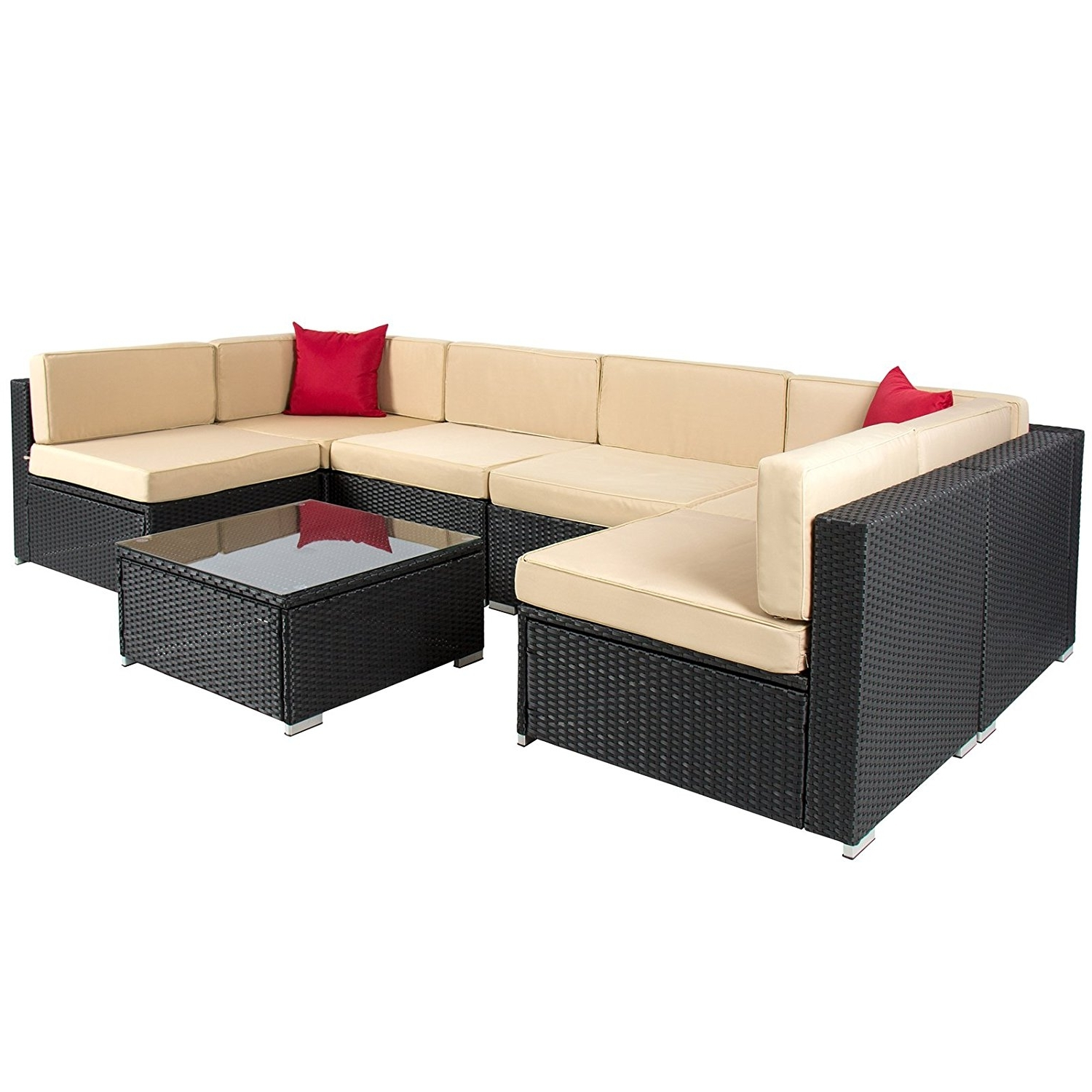 Preferred Amazon: Best Choiceproducts 7 Piece Outdoor Patio Garden Inside Outdoor Sofa Chairs (View 12 of 15)