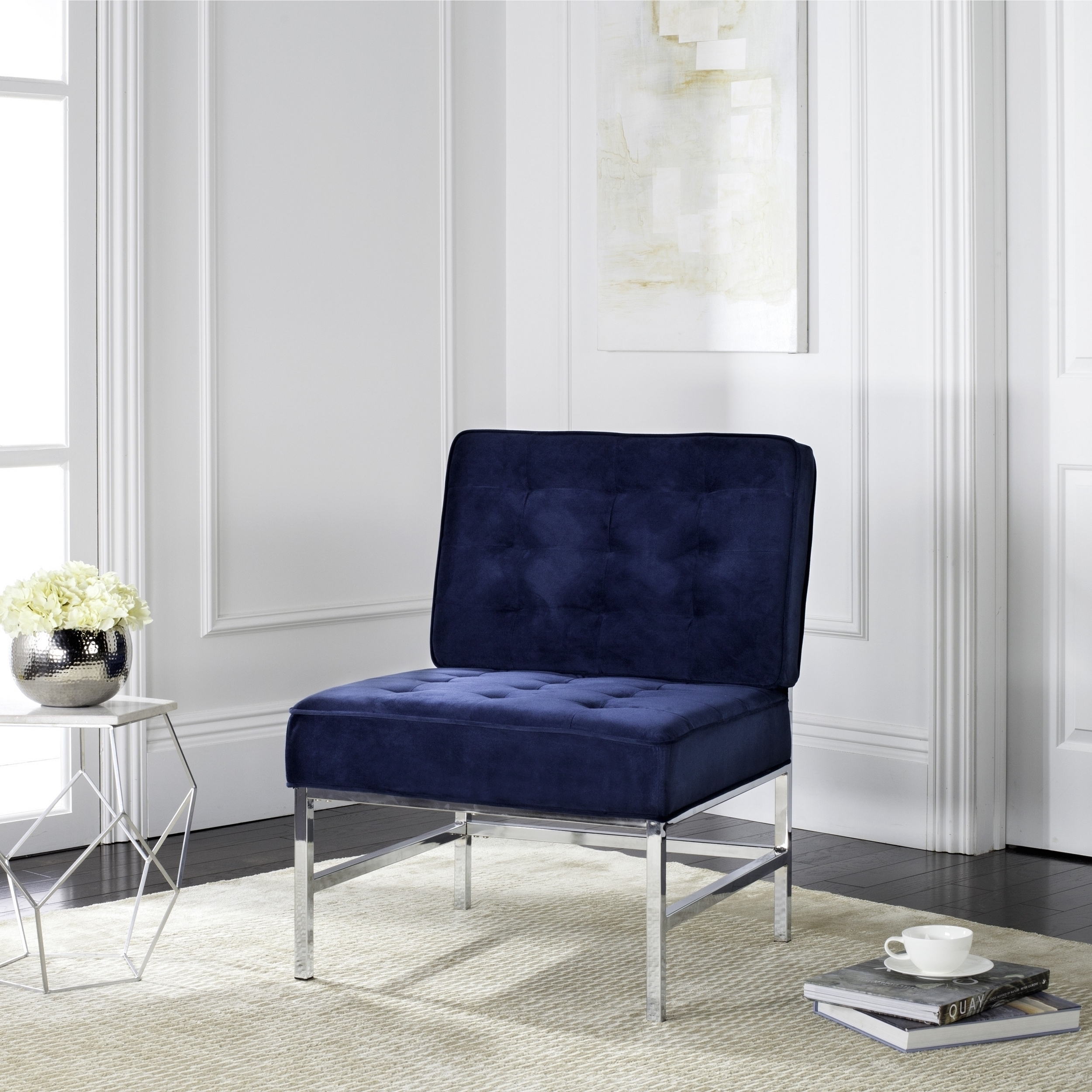 Preferred Ansel Blue Velvet Tufted Accent Chair Contemporary Armless Sofa Intended For Accent Sofa Chairs (View 13 of 15)