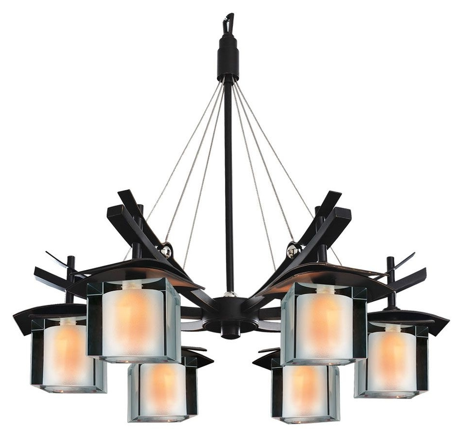 Preferred Asian Chandeliers With Regard To Kalco 2989 Nijo 26 Inch Diameter Tawny Port 6 Light Asian Chandelier (View 13 of 15)