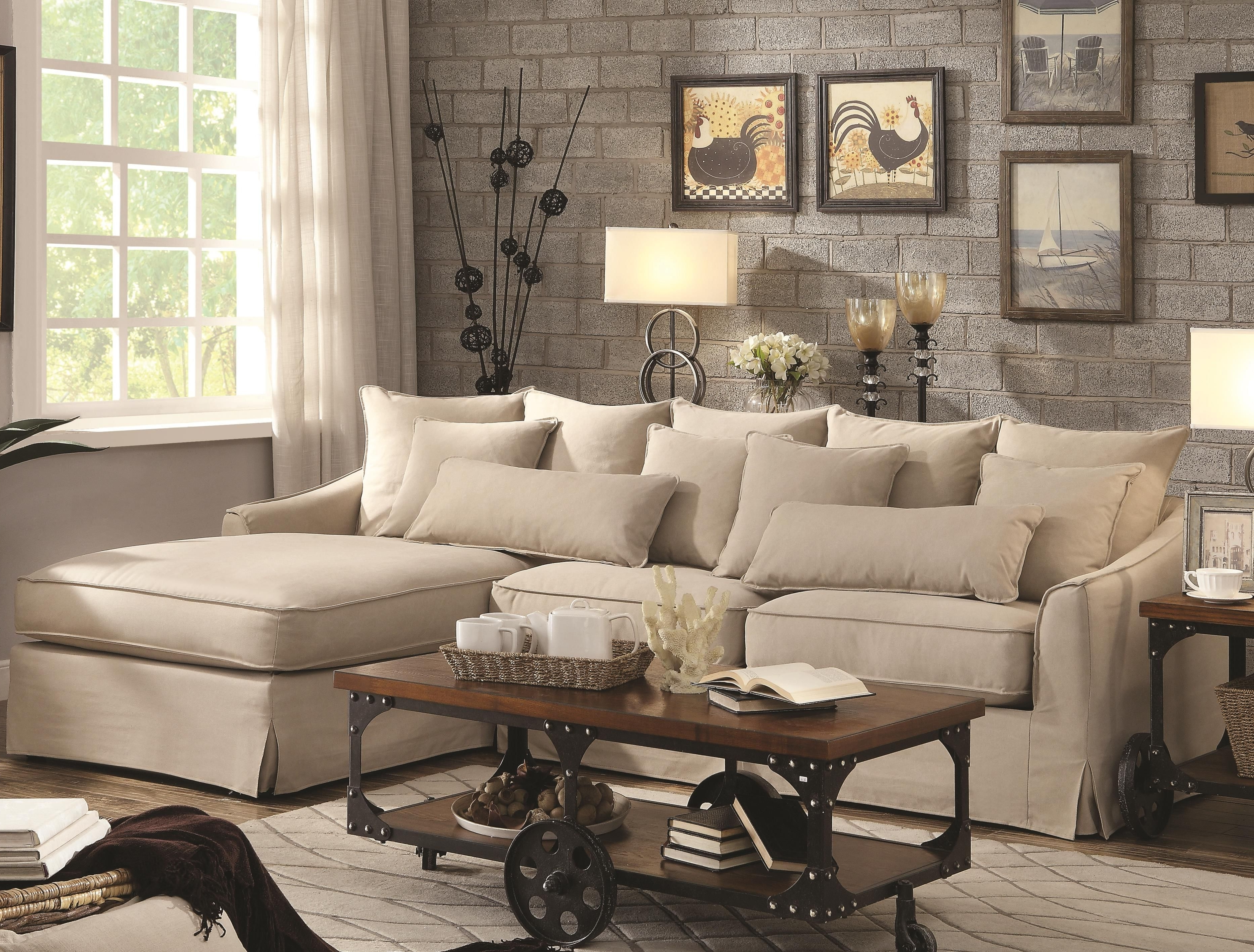 Preferred Beige Sectionals With Chaise Throughout Coaster Knottley Slipcovered Sectional Sofa With Chaise And (View 5 of 15)