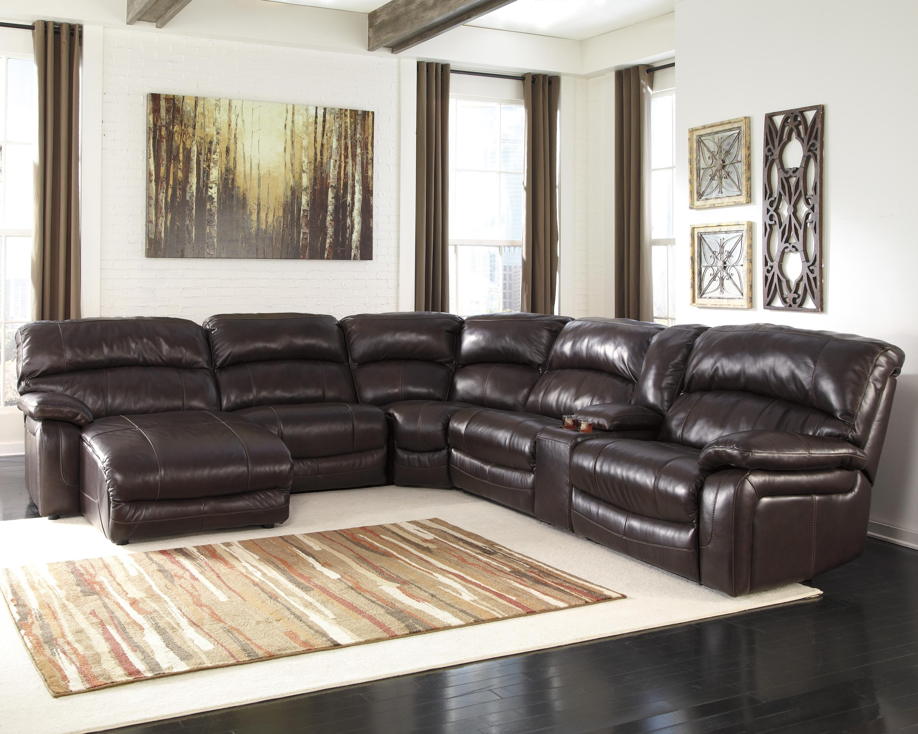 Preferred Brown Leather Sectionals With Chaise Inside Reclining Sectional W/ Console & Right Press Back Chaise (View 12 of 15)