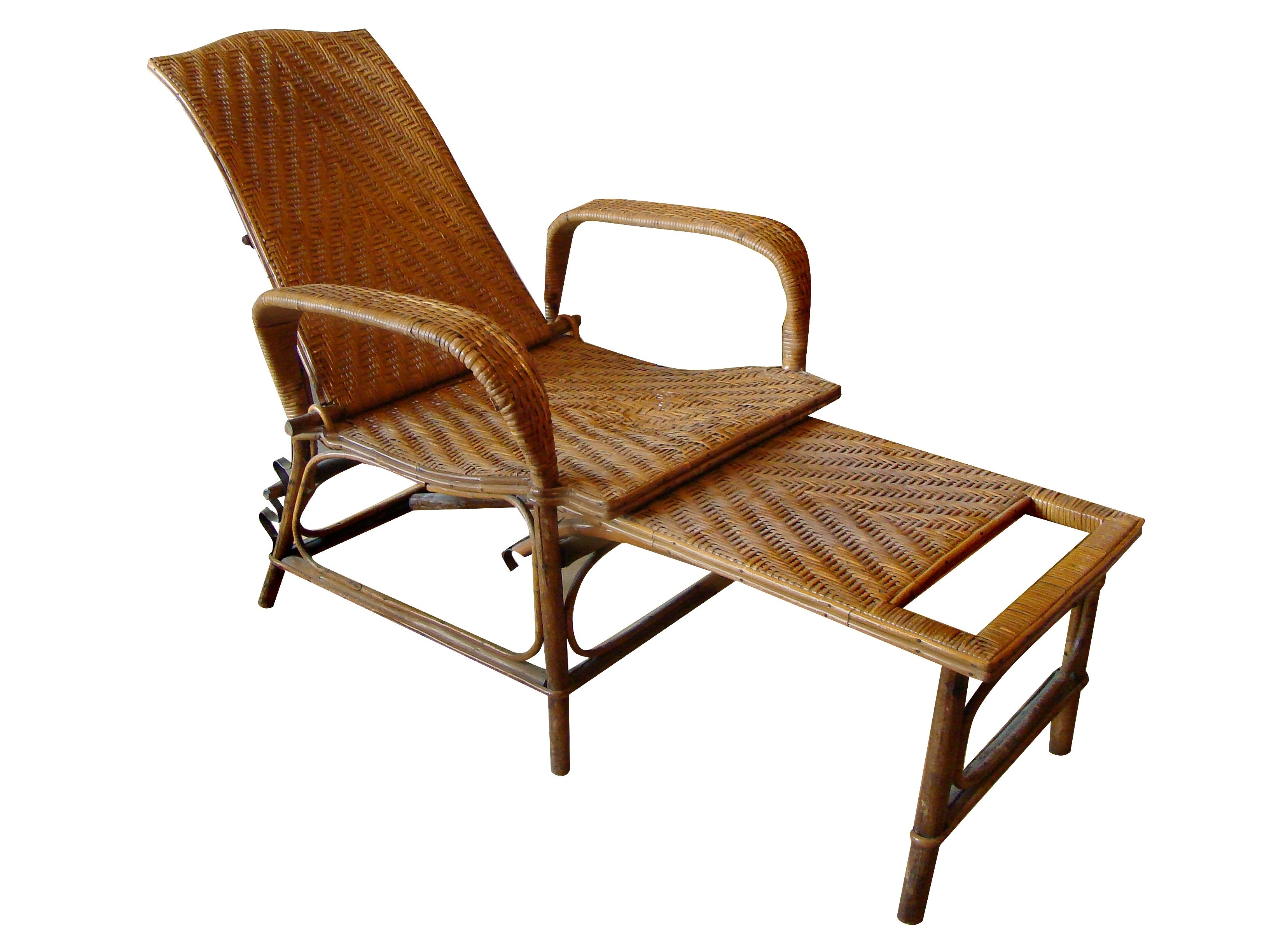 Preferred Chaise Lounge Chairs With Ottoman Pertaining To Vintage Rattan And Bamboo Chaise Lounge (View 14 of 15)