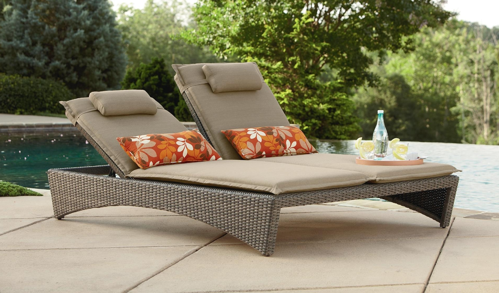 Preferred Chaise Lounges : Double Chaise Lounge Outdoor Furniture Color With Outdoor Sofas And Chairs (View 10 of 15)