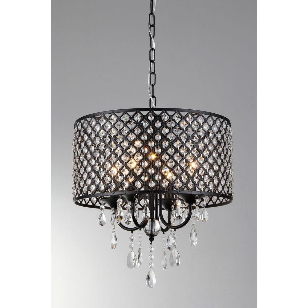 Preferred Chandelier With Shades And Crystals Pertaining To Black – Crystal – Chandeliers – Lighting – The Home Depot (View 13 of 15)