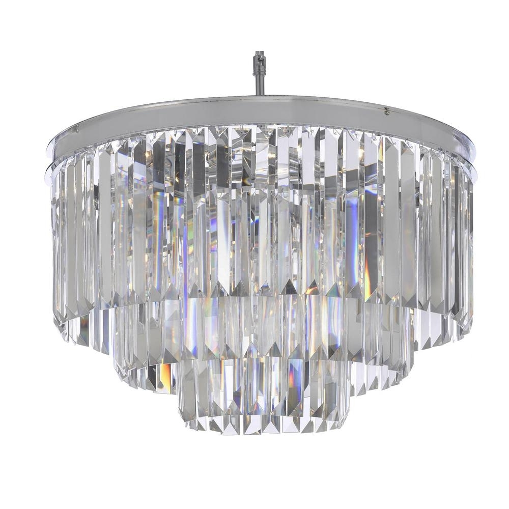 Preferred Chrome And Glass Chandelier Within Odeon 9 Light Chrome Crystal Glass Fringe Modern Chandelier T40  (View 8 of 15)