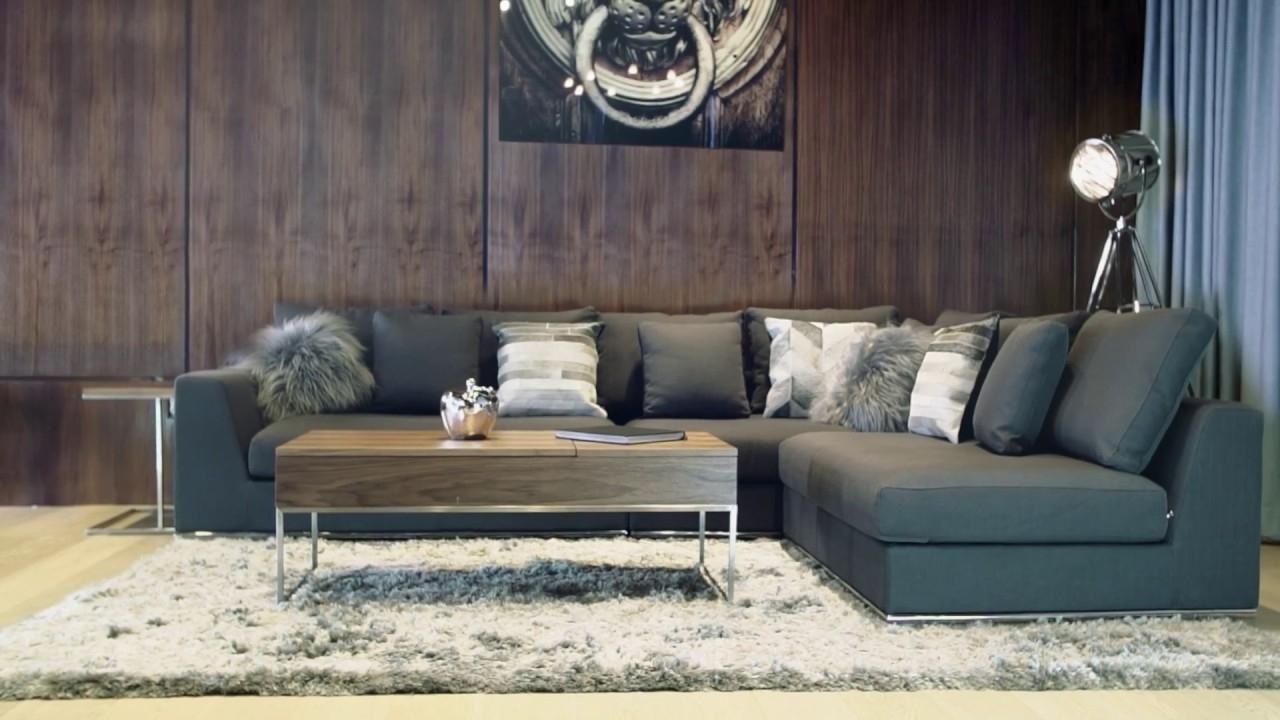 Preferred Contemporary Fabric Sofas For Giovani Fabric Contemporary Sofa Gray – Youtube (View 15 of 15)