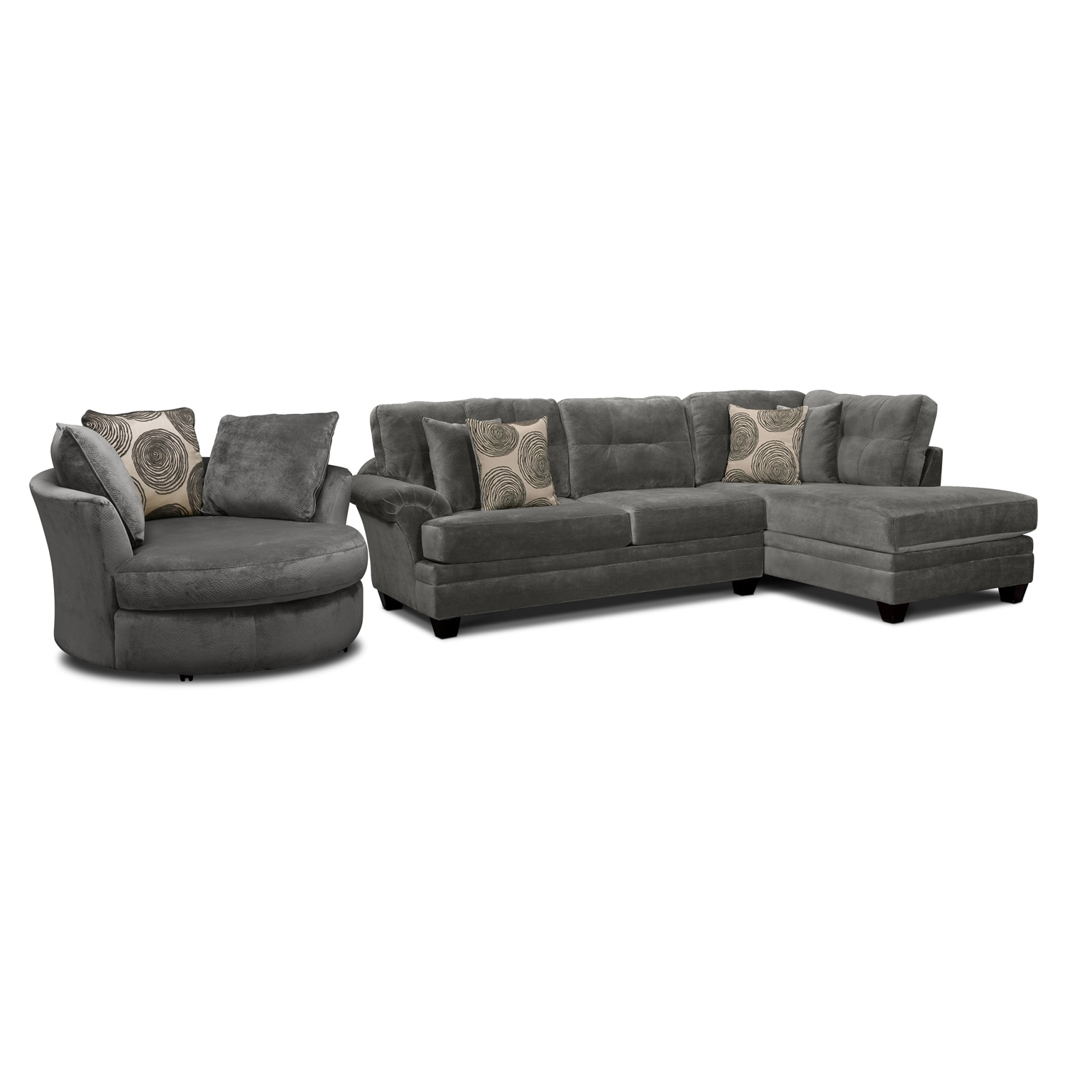 Preferred Cordelle 2 Piece Left Facing Chaise Sectional And Swivel Chair Set Inside Sofas With Swivel Chair (View 10 of 15)