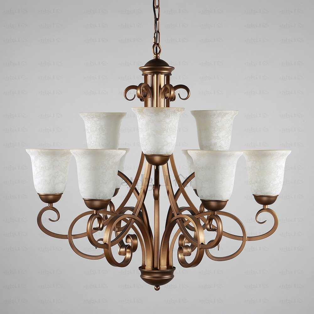 Preferred Country Chic Chandelier With 9 Light Glass Shade Two Tiered Shabby Chic Chandelier (View 2 of 15)
