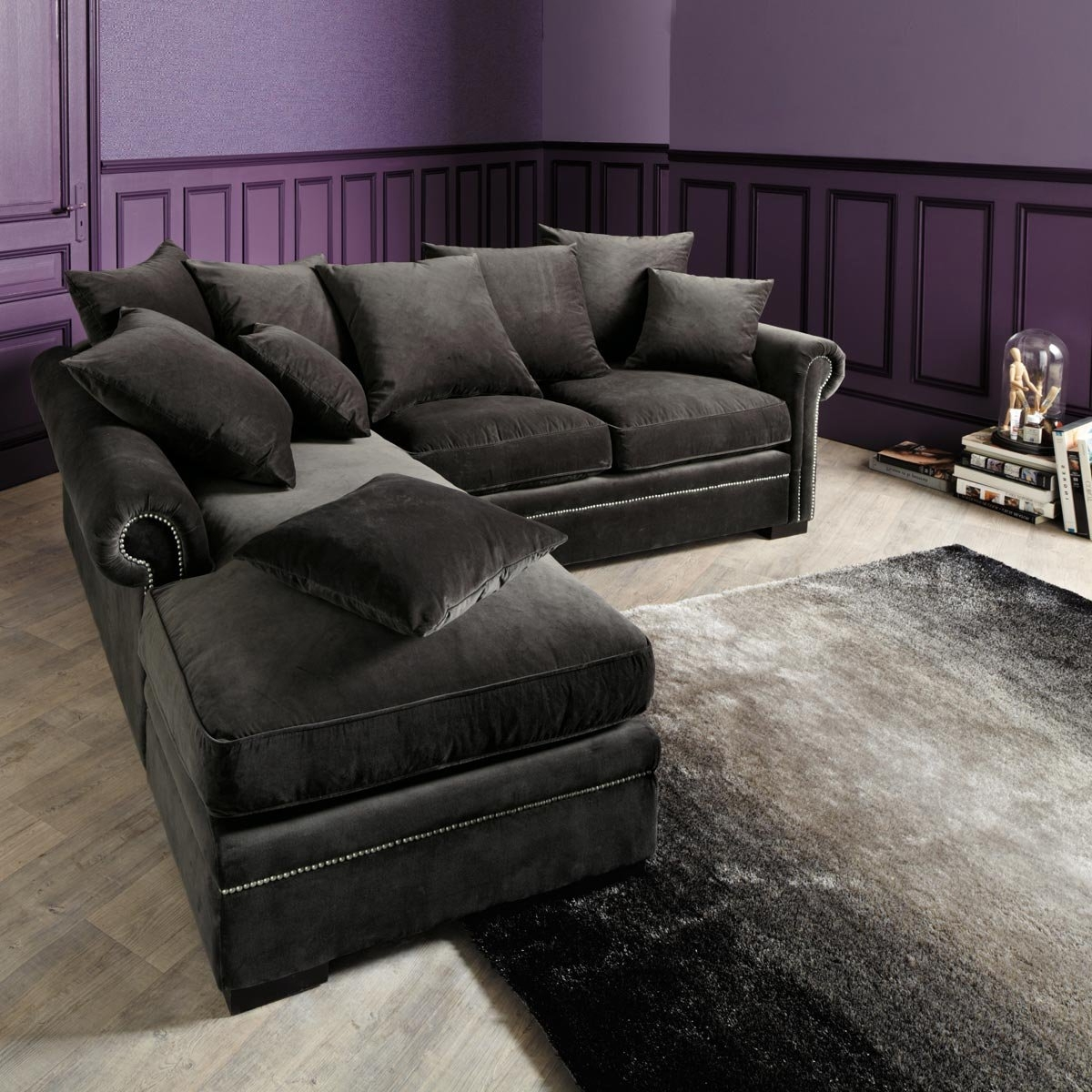 Preferred Dark Grey Velvet Sectional Couch With Chaise And Pillows – Decofurnish With Grey Chaise Sectionals (View 6 of 15)
