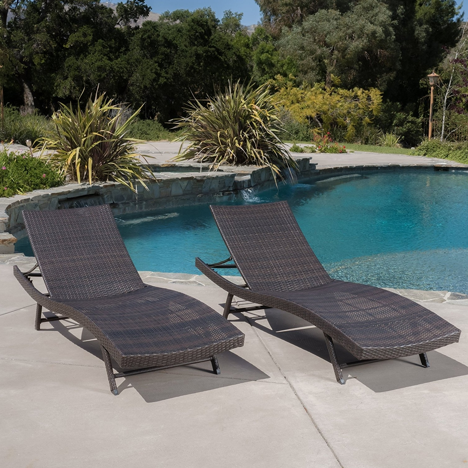 Preferred Eliana Outdoor Brown Wicker Chaise Lounge Chairs Throughout Amazon: Eliana Outdoor Brown Wicker Chaise Lounge Chairs (Set (View 14 of 15)