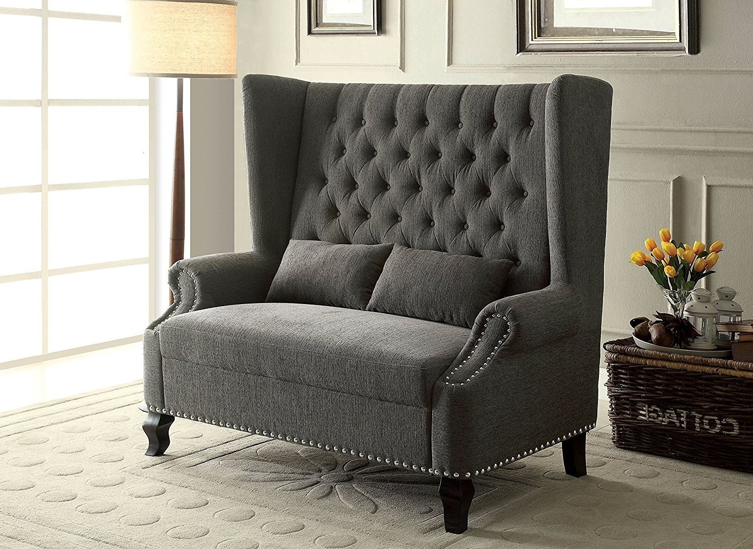 Preferred High Back Sofas And Chairs For Amazon: Furniture Of America Adia Romantic Wingback Love Seat (View 7 of 15)